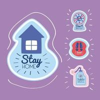 stay home lettering campaign with house and icon set vector