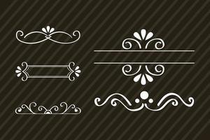 decorative swirls dividers in brown background vector