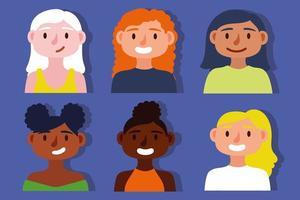 Group of interracial women, inclusion concept vector