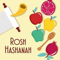 happy rosh hashanah parshment with parshment and fresh fruits vector