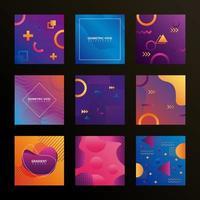 bundle of nine geometric vivid backgrounds vector