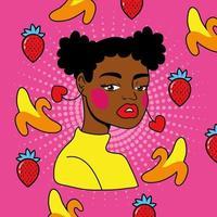 joven mujer afro con frutas estilo pop art
