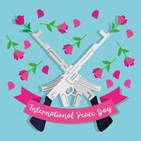 International Day of Peace lettering with rifle weapons and roses vector