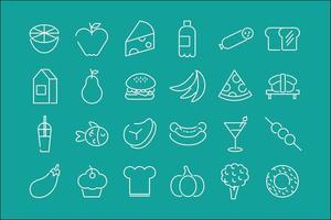 paquete de veinticuatro iconos de alimentos en un fondo verde vector
