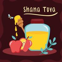 shana tova lettering with honey and apples vector