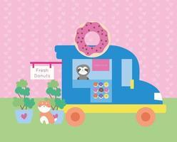 linda postal kawaii con camión de donas y animales vector