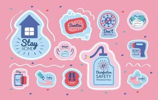Bundle of new normal campaign with letterings and icons vector