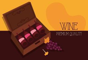 wine premium quality poster with bottles and grapes vector
