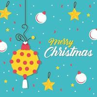 Feliz tarjeta de celebración de feliz navidad con bola y estrellas vector