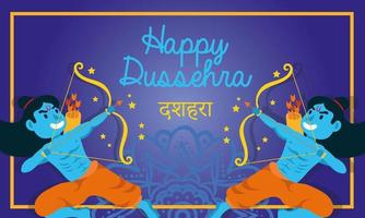 happy dussehra celebration lettering with lords rama blue characters vector