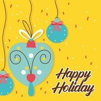 tarjeta de celebración de feliz navidad con adornos