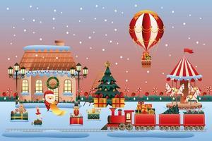 Winterland Christmas scene vector