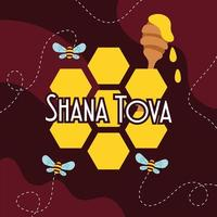 shana tova lettering with bees flying and honey vector