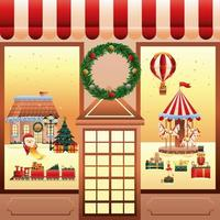 christmas toys in store facade scene