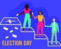 election day democracy with interracial people