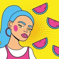 mujer joven con fresas estilo pop art