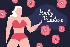 letras positivas para el cuerpo con mujer grande y flores. vector