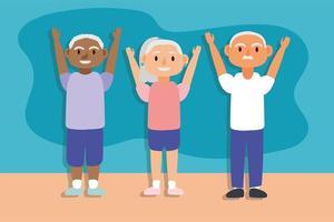 ancianos interraciales haciendo ejercicio, personajes de personas mayores activas