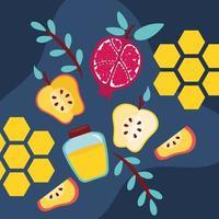 happy rosh hashanah with honey pot and fruits vector