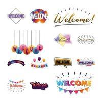 paquete de trece cartas de bienvenida vector