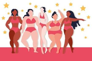 Group of different women body types vector