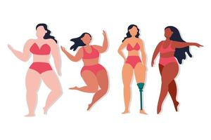 Group of women with different body types vector