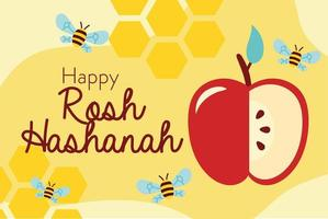 happy rosh hashanah celebration with bees and apple vector