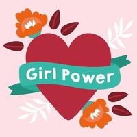 Girl power poster with lettering in ribbon and heart vector