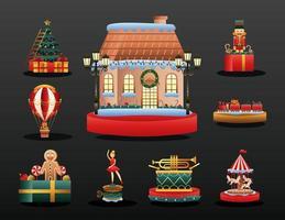 Cute Christmas toys set vector