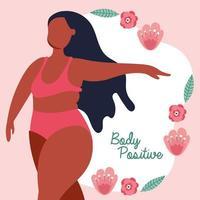letras positivas para el cuerpo con mujer afro y rosas vector