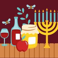 happy rosh hashanah with chandelier and wines vector
