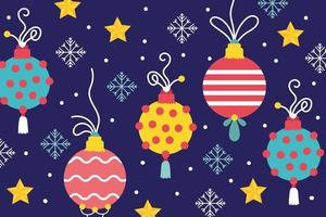 Merry Christmas celebration card with ornaments pattern vector