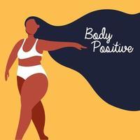 letras positivas para el cuerpo con mujer afro vector