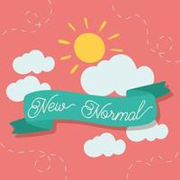new normal lifestyle lettering campaign with sun and ribbon frame vector