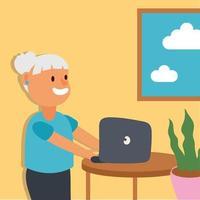 anciana usando laptop, personaje senior activo