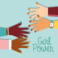 Girl power poster with interracial hands and lettering vector