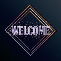 etiqueta de bienvenida con letras en forma de diamante vector