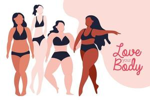 love your body lettering with group of women with different body types vector
