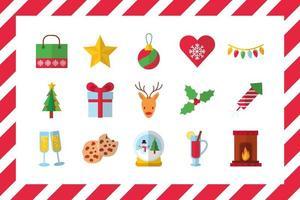 feliz navidad celebración conjunto de iconos vector