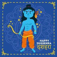 Happy Dussehra celebration with lord rama blue character vector