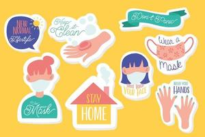 set of campaign letterings and icons in yellow background vector