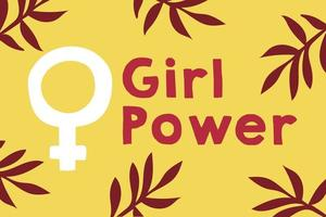 Girl power lettering poster with female gender symbol and leaves vector