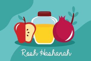 happy rosh hashanah celebration with honey pot and fruits vector