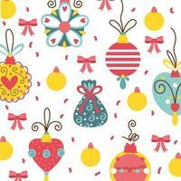tarjeta de celebración de feliz navidad con patrón de adornos