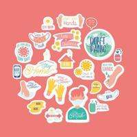 set of campaign letterings and icons vector
