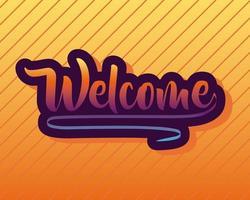Letras de la etiqueta de bienvenida en fondo naranja vector