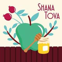 shana tova lettering with fruits and honey vector
