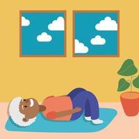 anciana afro haciendo ejercicio, personaje senior activo vector