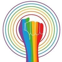 human rights campaign with hand fist rainbow colors vector