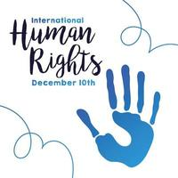 human rights campaign lettering with hand print vector